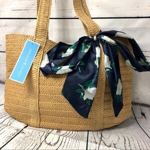 Reese Witherspoon Draper James Straw Bag w/ Scarf